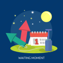 calendar, fireworks, moon, star, waiting moment icon