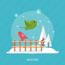birds, cold, fence, ice, snow, tree, winter icon