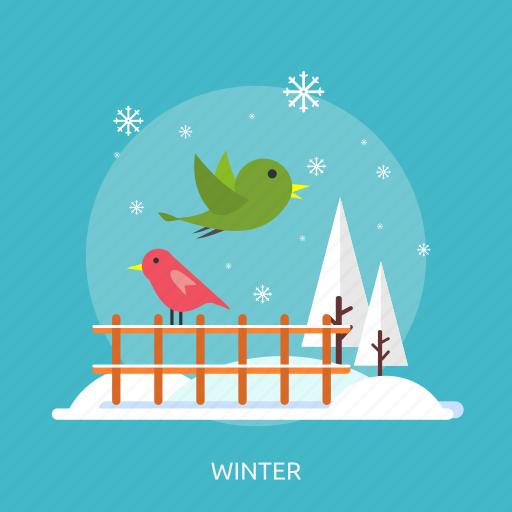 birds, cold, fence, ice, snow, tree, winter icon