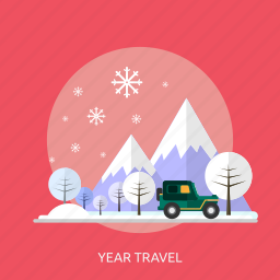 car, ice, mountain, snow, tree, winter, year travel icon