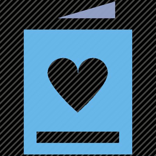 bookmark, card, heart, invitation card, love card icon