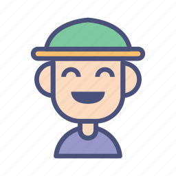 avatar, character, farmer, laugh, male, people, profile icon