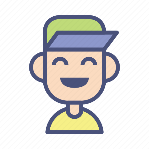 avatar, caps, character, laugh, male, people, profile icon