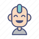 avatar, character, laugh, male, people, profile, punk icon