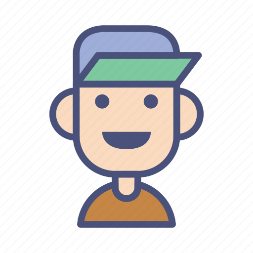 avatar, caps, character, male, people, profile, smile icon