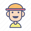 avatar, character, farmer, male, people, profile, smile icon