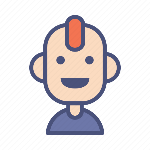 avatar, character, male, people, profile, punk, smile icon