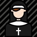 avatar, cartoon, church, nun, people, religion, woman icon