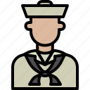 avatar, cartoon, man, navy, people, sailor icon