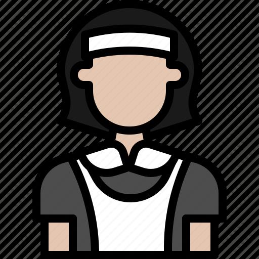 avatar, cartoon, female, maid, people, woman icon