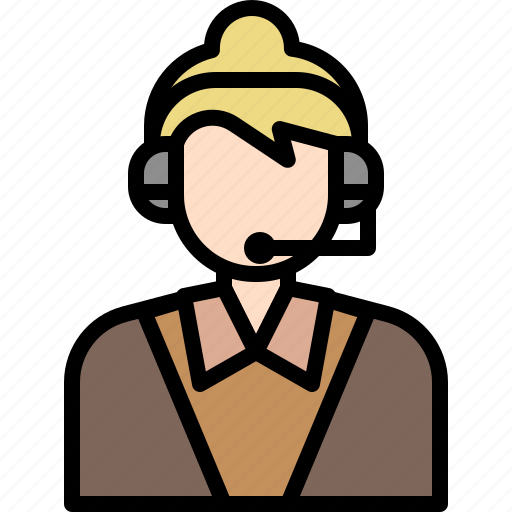 avatar, business, call, cartoon, center, people, woman icon
