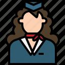 air, attendant, avatar, cartoon, flight, people, woman icon