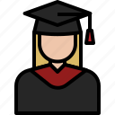 avatar, cartoon, graduation, people, student, university, woman icon