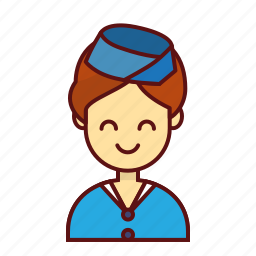 air, character, hostess, person, planes, user, women icon