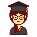 character, graduation, person, school, studient, user, women icon