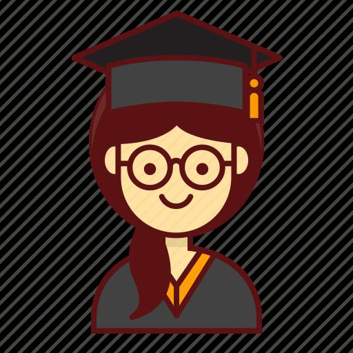 character, graduation, person, school, studient, user, women icon