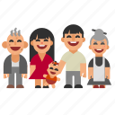 asian, child, dad, family, grandma, grandpa, mom icon