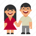 asian, couple, laughing, man, people, smiling, woman icon