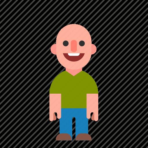 bald, caucasian, guy, laughing, smile, smiling, white icon