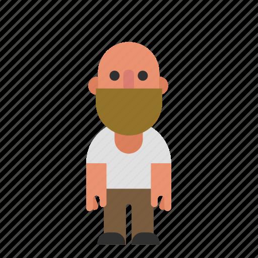 bald, beard, caucasian, guy, male, man, white icon