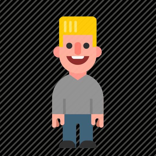 blond, caucasian, guy, laughing, man, smiling, white icon