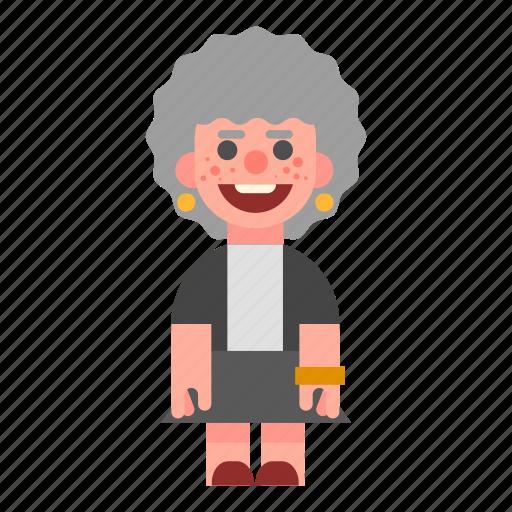 female, grandma, laughing, old, smiling, white, woman icon