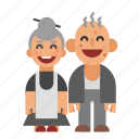 asian, grandma, grandpa, grandparents, laughing, old, smiling icon