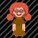 ginger, glasses, redhead, smiling, white, woman, girl