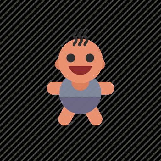 baby, dark, hair, kid, smiling, toddler, white icon