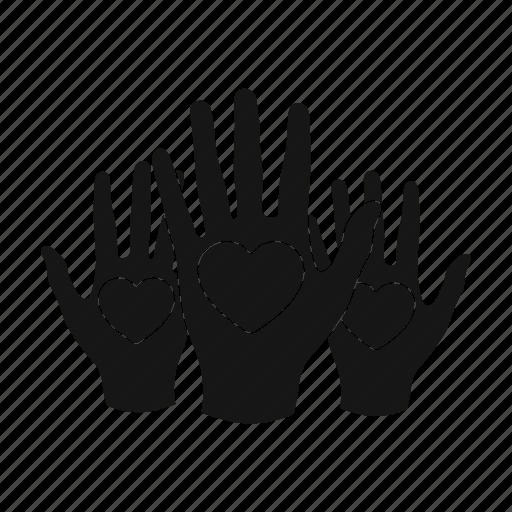 charity, hands, heart, help, love icon
