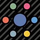 analytics, circle, diagram, map icon