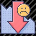 decrease, down, loss, presentation icon