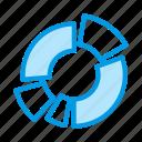 analysis, analyze, chart, diagram, donut, exploded icon