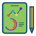 chart, dashboard, kpi, line, pen, report, reports icon