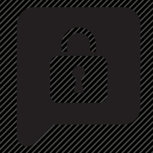 balloon, bubble, chat, padlock, security, speech, talk icon