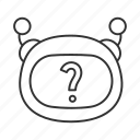 bot, chat, chatbot, emoji, faq, question mark, robot