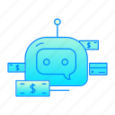 bank, bot, business, chatbot, internet, money, robot icon