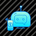 bank, bot, internet, phone, robot icon