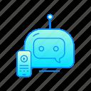 bot, chatbot, internet, phone, robot icon