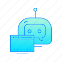 bot, browser, chatbot, internet, robot icon