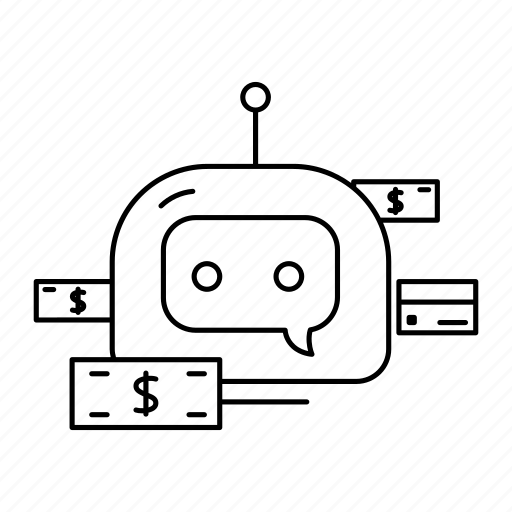 bot, chatbot, money icon