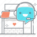 bubble, chat bot, e-commerce, message, robot, support, virtual assistant icon