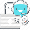 chat bot, encryption, lock, message, robot, security, support