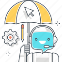 chat bot, message, protection, robot, security, support, umbrella