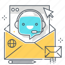 chat bot, email, envelope, mail, message, robot, support