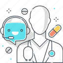 chat bot, doctor, health, hospital, message, robot, support