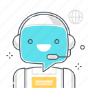 bubble, chat bot, cyborg, message, robot, support, virtual assistant icon