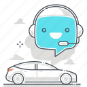 artificial intelligence, car, chat bot, message, robot, self driving, support