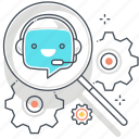chat bot, fix, gears, message, robot, support, virtual assistant