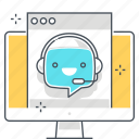 chat bot, computer, message, robot, support, type, web site icon